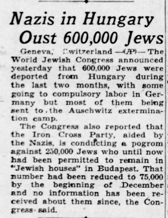 Nazis in Hungary Oust 600,000 Jews - Dec 24, 1944 -