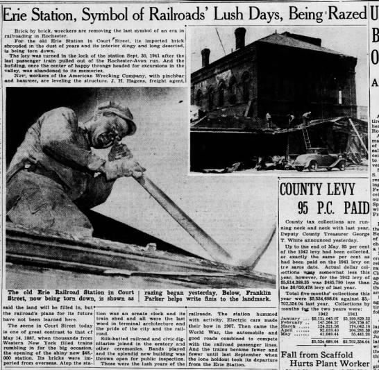 Rochester station demolition in progress, June 9, 1942 -