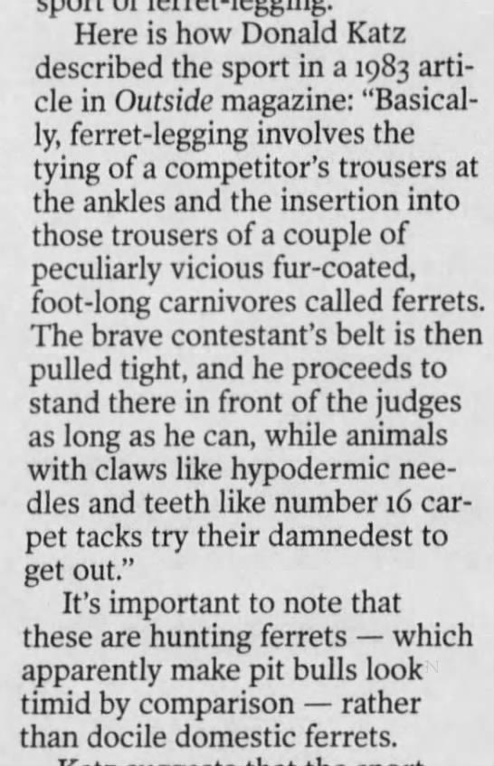 Description of Ferret Legging, 2000 -