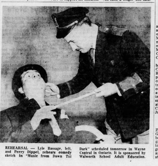 Grandpa Dippel rehearsal photo in newspaper -