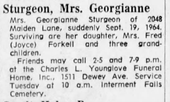 Sturgeon, Georgianne 21 Sep 1964 Obit -