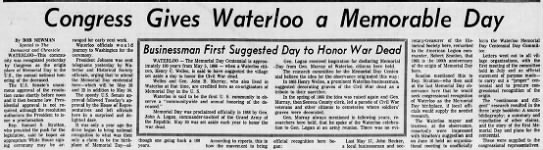 1966: Congress proclaims Waterloo, New York, birthplace of Memorial Day -