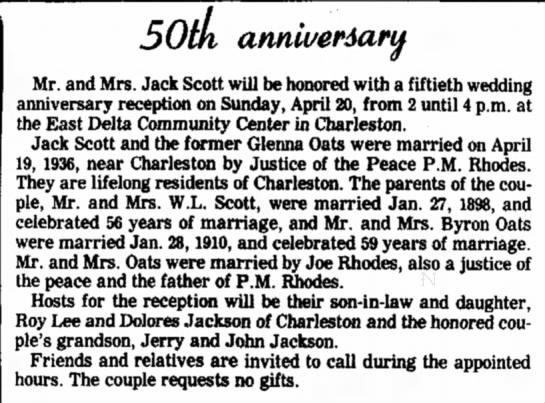 Jack Scott, Glenna Oats50th anniversary -