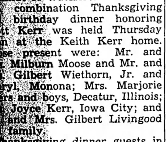 Kerr, Mr & Mrs Kenneth, Postville Herald, Postville, Iowa, Dec 2 1964, Pg 1 -