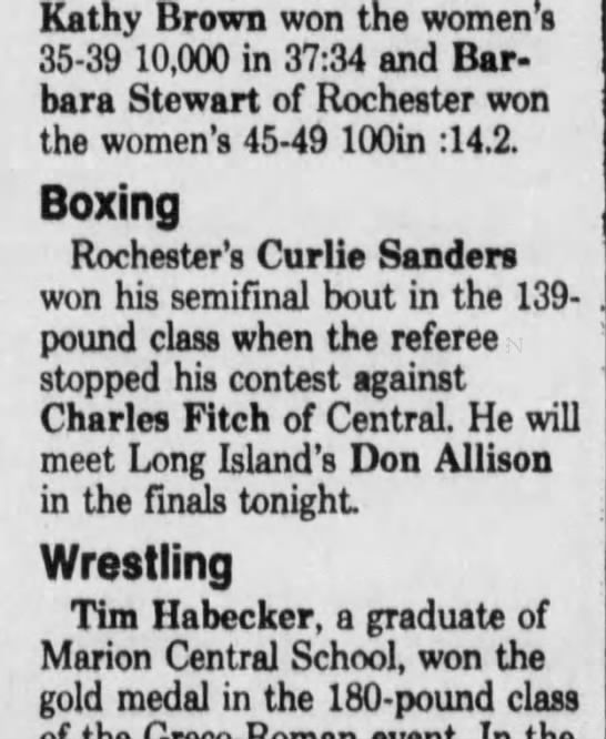 8-1-87 Rochester D&C Empire State Game; Sanders vs. Fitch -