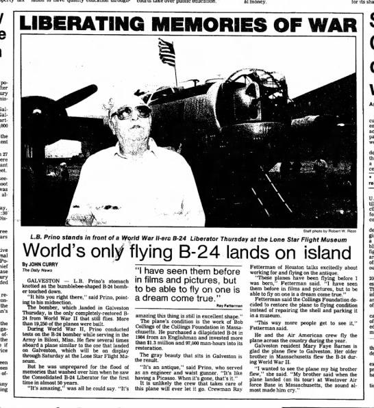 LB Prino 1991 Galveston Daily News - money. its share LIBERATING MEMORIES OF WAR...