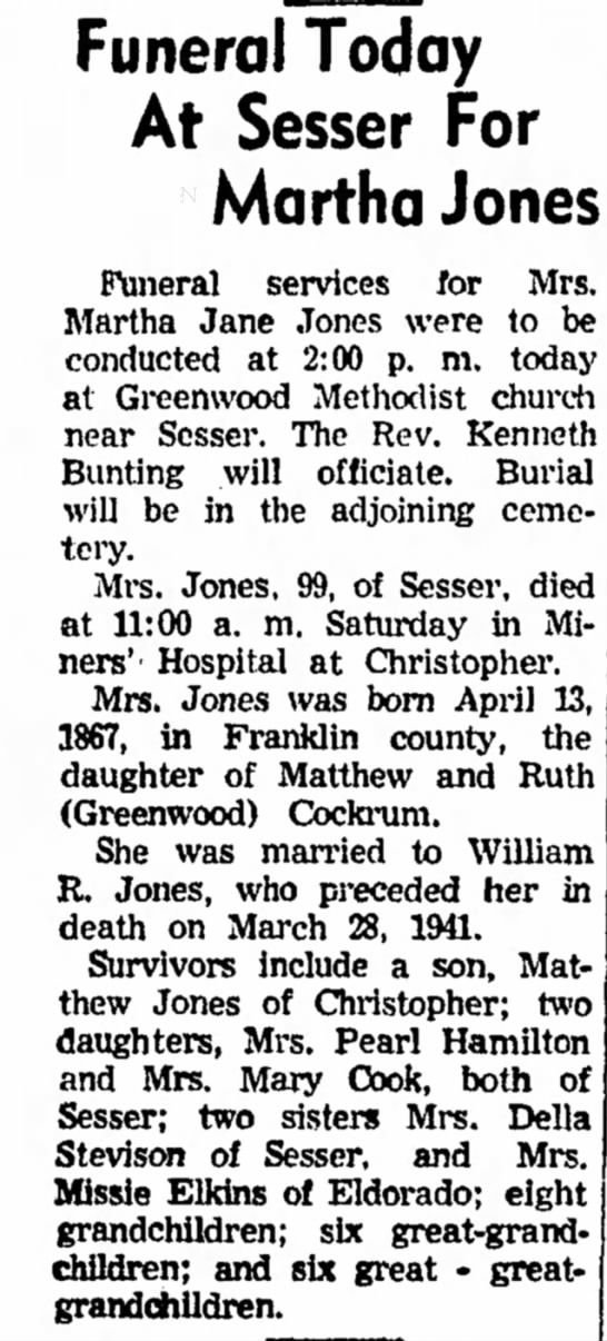 - Funeral Today At Sesser For Martha Jones...