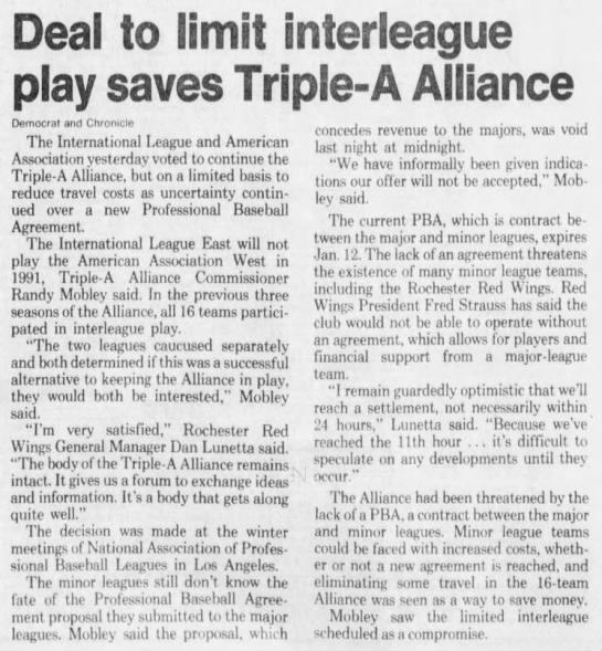 Deal To Limit Interleague Play Saves Triple-A Alliance -
