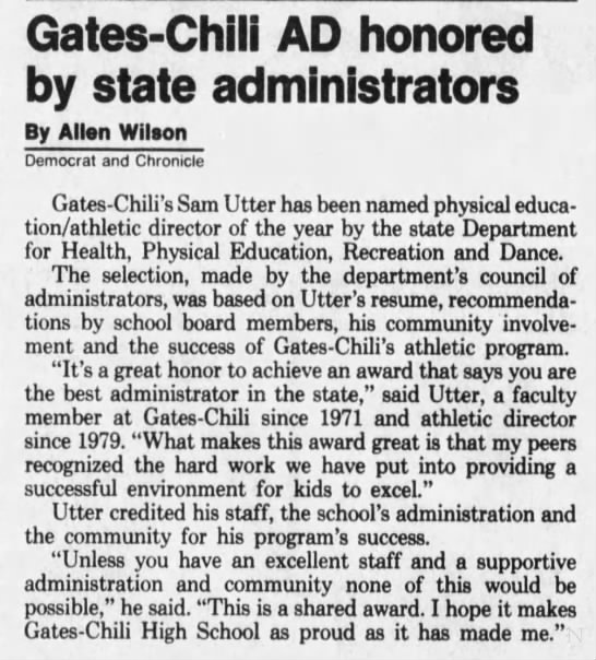 19911107 GC AD Sam Utter honored by NYS Department as Health, PE, Recreation Dance -