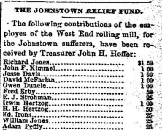 HERTZOG Irwin Johnstown relief fund -