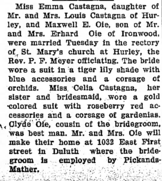 Ironwood Times, Friday February 17, 1939, page five. Celia's sister Emma, wedding announcement. -
