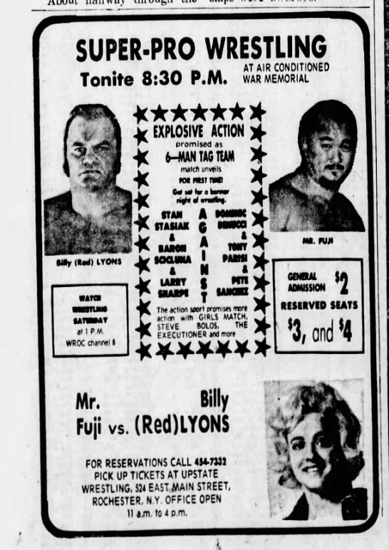 09 17 1974 ROCHESTER NY AD - SUPER-PRO WRESTLING Tonite 8:30 P.M. AT AIR...