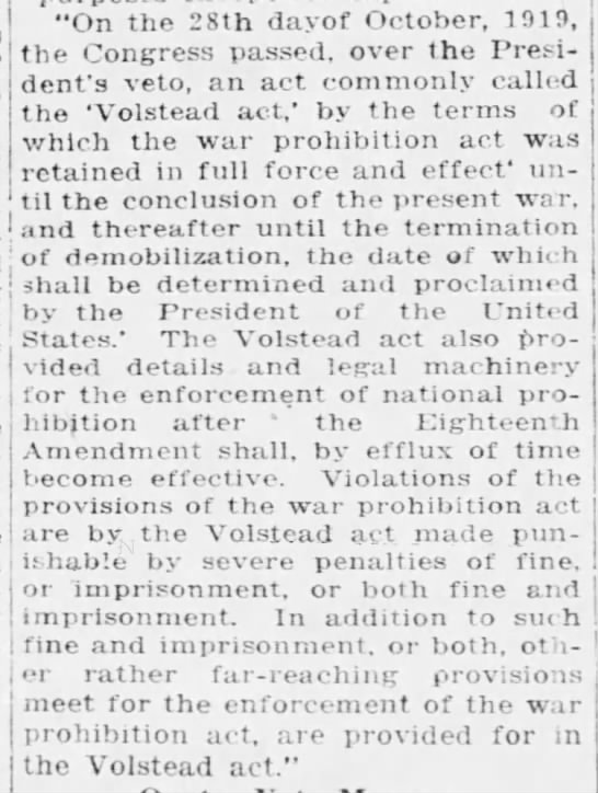 The Volstead Act -