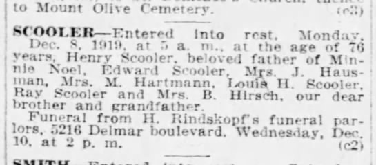 Henry Scooler Obituary St. Louis Post-Dispatch 08 December 1919 -