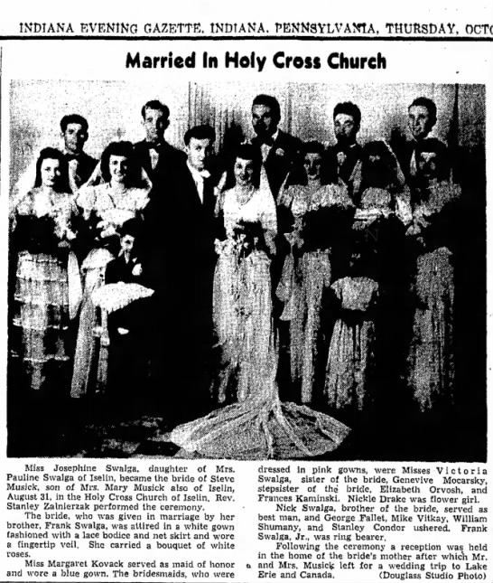 Marriage of Steve Musick and Josephine Swalga - 1946 -