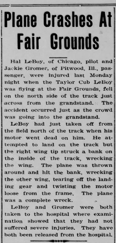 September 6, 1945 - Plane Crashes at County Fair -