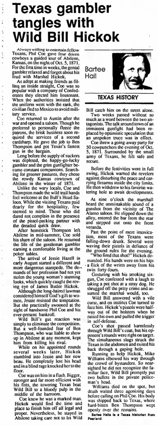 Article on Ben Thomson in 1992 -