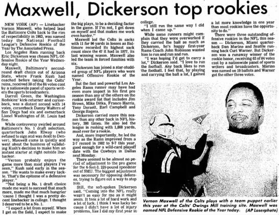 Maxwell, Dickerson top rookies -