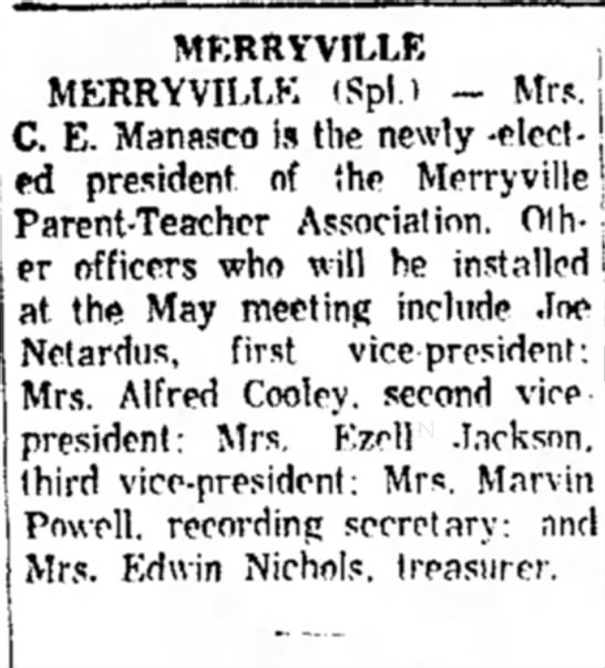 Manasco  May 1962 - MERRYVILLE MERRYVILLE (Spl.) - Mrs. C. E....