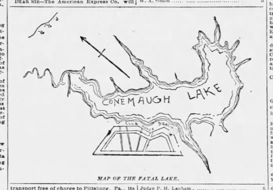 Map of Lake Conemaugh prior to the flood of 1889 -