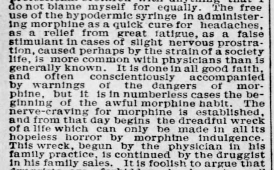 A doctor discusses the role of doctors and druggists in opioid addiction, 1892 -