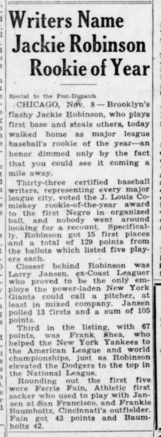 Jackie Robinson named MLB's Rookie of the Year in 1947 -