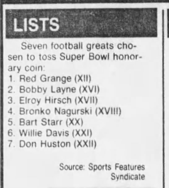 Lists (Super Bowl coin tossers) -
