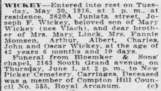 Joseph F. Wickey death notice -