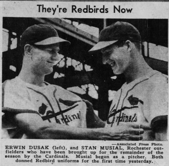 Sept. 17, 1941: Stan Musial's first game as a Cardinal. -