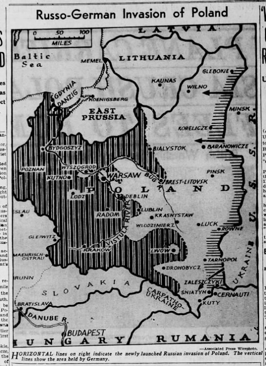 Map of Soviet-German invasion of Poland published September 18, 1939 -