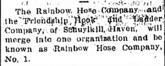 Rainbow Hose Co 1910 -