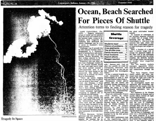 """""""Tragedy In Space"""" 27 years ago today. - Ocean, Beach Searched For Pieces Of Shuttle..."""
