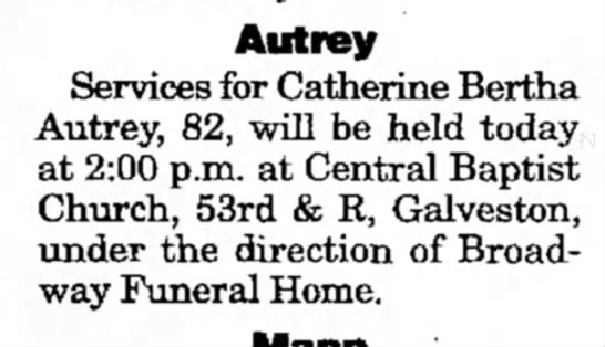 - Autrey Services for Catherine Bertha Autrey,...