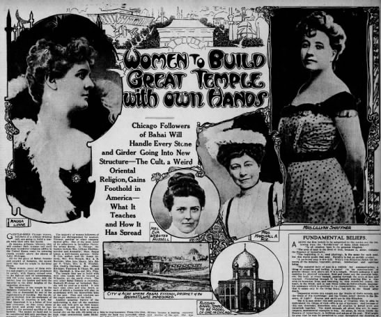 art of article on early women Baha'is, effort to build Baha'i Temple -
