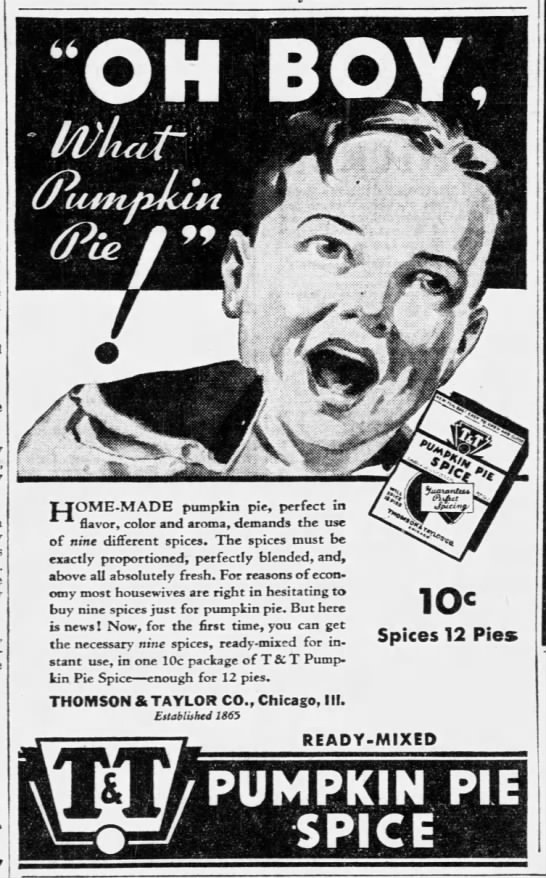 1933 ad for T&T pumpkin pie spice -