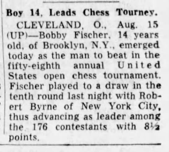 Boy, 14, Leads Chess Tourney -