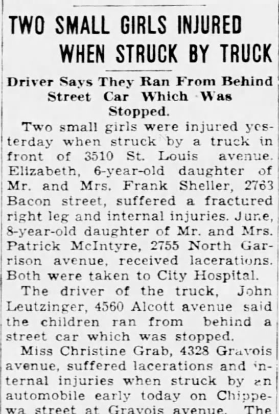 John Leutzinger's truck hits  and injures 2 young girls.  26 Sep 1934 -