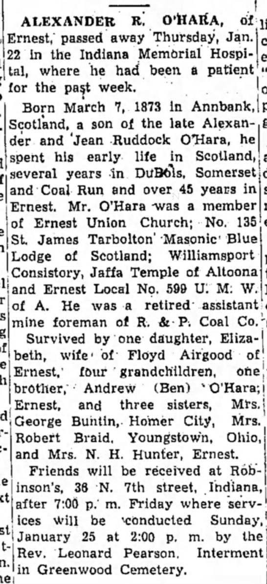 Obituary - O'Hara, Alexander -