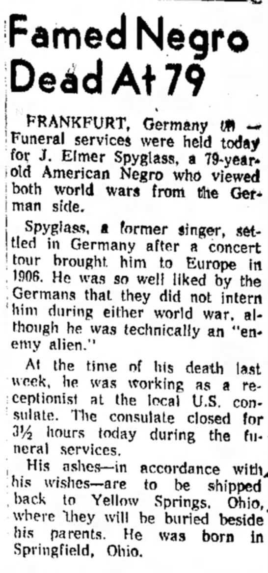 Famed Negro Dead at 79, The Indiana Gazette (Indiana, Pennsylvania) February 21, 1957, page 5 -