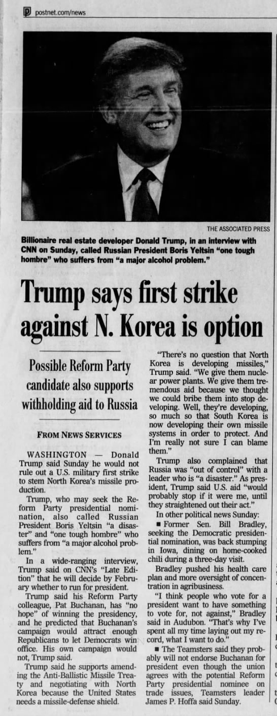 Trump Articles - Trump says first strike against North Korea is option - 11/29/1999 -