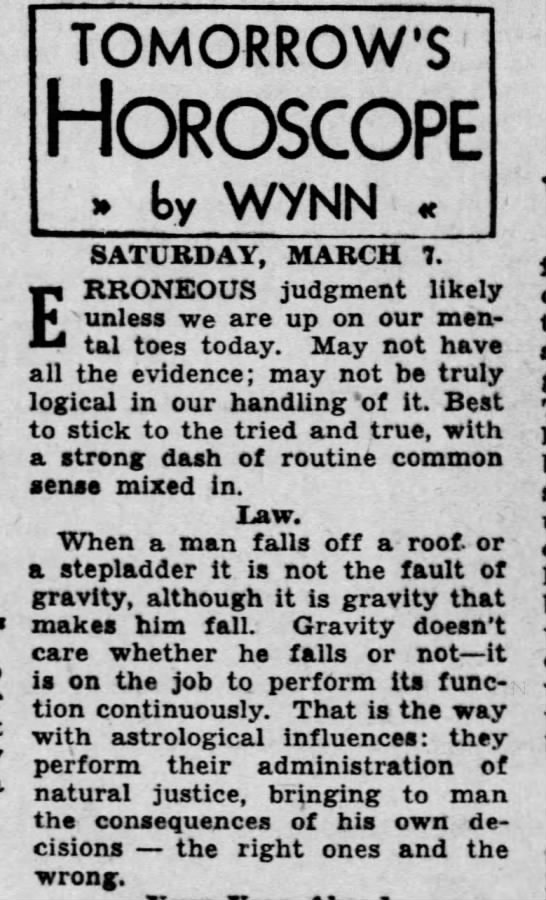 """Gravity doesn't care"" (1942). -"