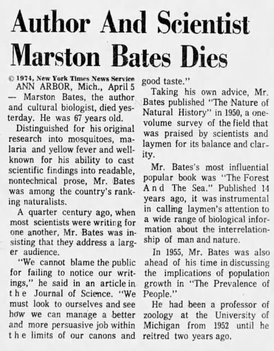 Author And Scientist Marston Bates Dies -