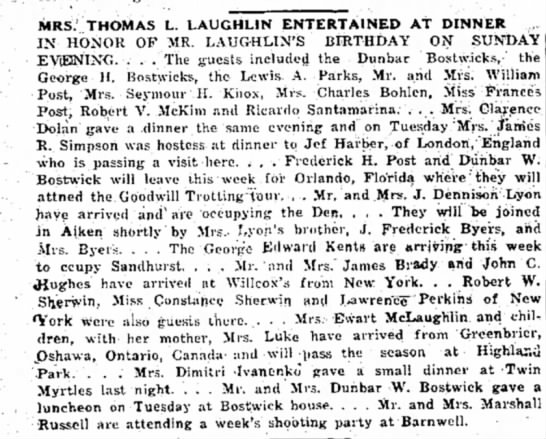 Jef Harber london, england - MRS. THOMAS L. LAUGHLIN ENTERTAINED AT DINNER ^...
