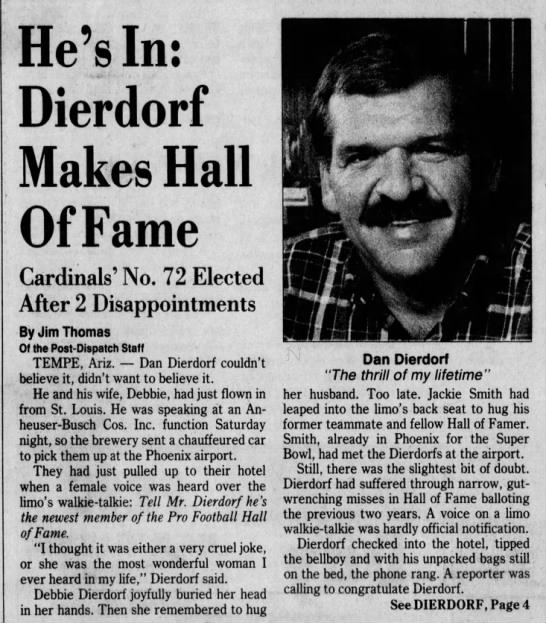 He's In: Dierdorf Makes Hall of Fame; Cardinals' No. 72 Elected After 2 Disappointments -