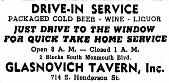 - DRIVE-IN SERVICE PACKAGED COLD BEER - WINE •...
