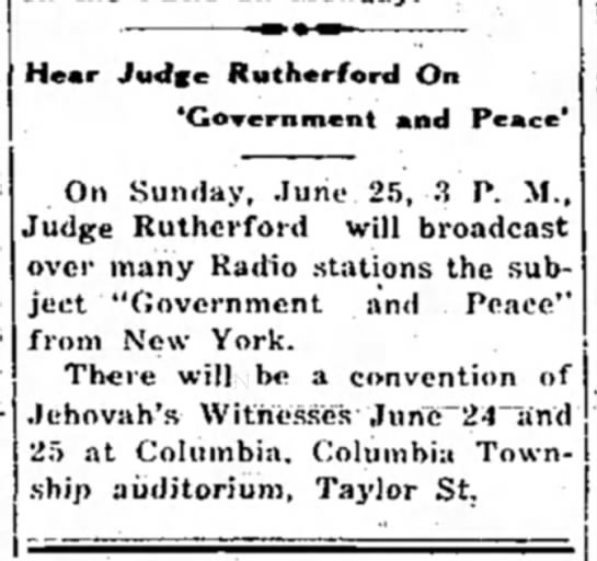 1939 Convention of JWs in Columbia, SC -