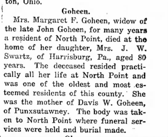 mrs margaret goheen dies