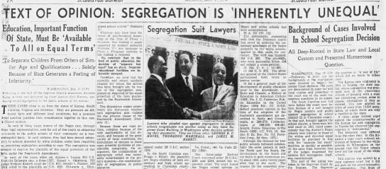 """Segregation is 'inherently unequal'"" -"