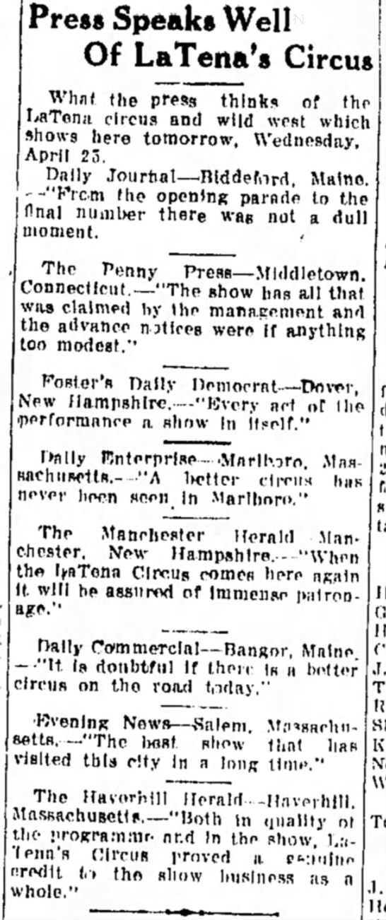 Downie LaTena Ad 4-24-1917 - Press Speaks Well Of LaTena's Circus What the...