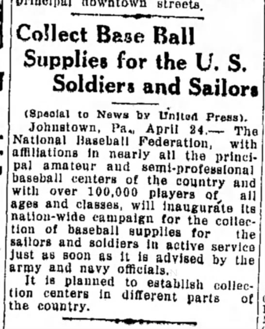 WWI Baseball Collection